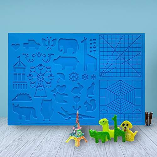 3D Stift Vorlage, LATTCURE 3D Druckstift Vorlage Stifte Matte, große Matte mit Tiermuster hilfreich für Anfänger, Kinder und 3D-Stiftkünstler, mit 2 Finger Stall. 41.5cm x 27.5cm