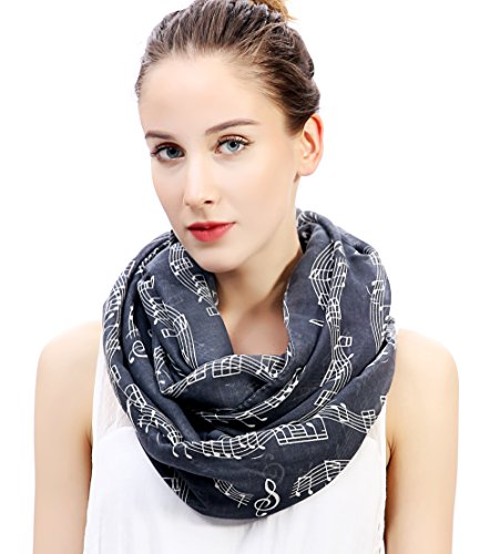 Lina & Lily Women's Musical Notes Print Infinity Loop Scarf (Dark...
