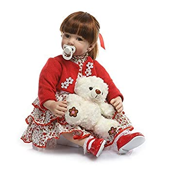 Anano 24inch Reborn Toddler Girl Doll with Beautiful Clothes Realistic Looking Long Hair Baby Doll Silicone Vinyl Body