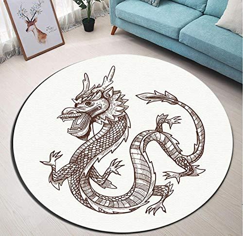 Yang Jingkai ronde woonkamer kussen slaapkamer vloer tapijten badkamer anti-slip mat huis deur hand tekenen Chinese draak
