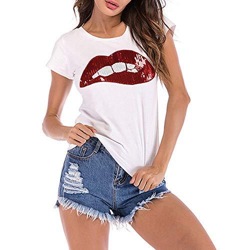 Camiseta con Estampado de Labios en Lentejuelas para Mujer, Blusa Casual Redondo Camisa manag Corto Mujeres Verano Basica Sexy Camiseta Rojo M