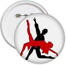 Art Duet Dance Social Dancing Round Pins Badge Button Clothing Decoration 5pcs Gift