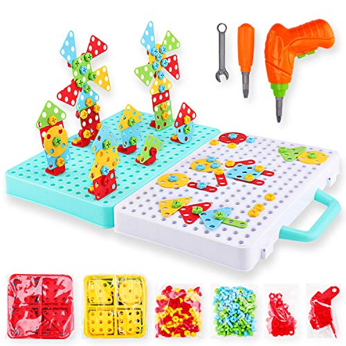 276 Pcs Electric DIY Drill STEM Puzzle Toy Set, Creative Mosaic Drill Puzzle Kit, 2D 3D Educational Building Blocks Construction Games Tool Kits, Best Kids Toys for Boys and Girls age 3 - 12 years old