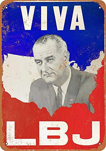 Treasun 1964 Viva LBJ Lyndon Johnson 12 X 8 Inches Retro Metal Tin Sign - Vintage Art Poster Plaque