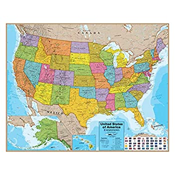 Waypoint Geographic Hemispheres Laminated USA Wall Map w/Blue Oceans - Easy to Read Up-to-Date Locations US Highways State Flags & Legend - Poster Size Wall Art  Large 38  x 48   - Ships Rolled