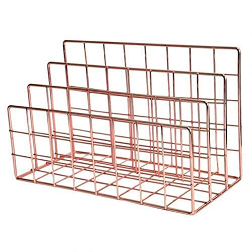 3 capas Iron Book Magazine Document Storage Shelf Stand Dormitorio Office Supply Magazine File Holder Organizador de la carpeta para el estante de escritorio (Color : Rose Gold)