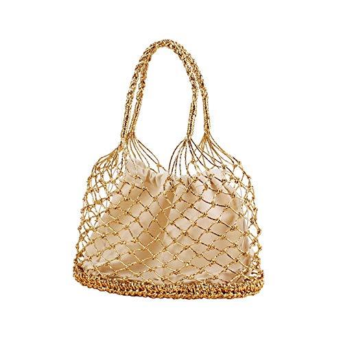 YAzNdom dames strandtas vrouwen haak holle trekkoord handtas zomer strand geweven handtas gemakkelijk te dragen handtas stro tas