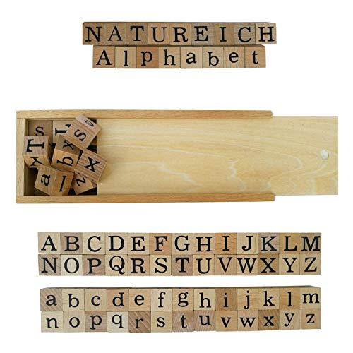 Natureich – Alphabet Blocks - Holzbausteine zum Lesen Lernen für Kinder ab 3 Jahren