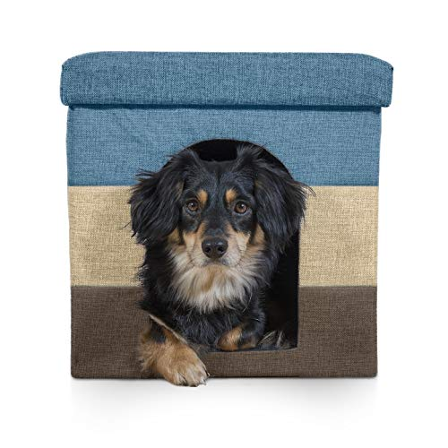 Furhaven Pet Dog & Cat House | Ottoman Footstool Collapsible Living Room Pet House Condo for Cats & Small Dogs, Beach House Stripe (Brown & Blue), Small