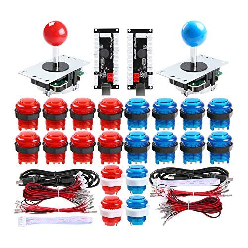 Qenker 2 Player LED Arcade DIY Parts 2X USB Encoder + 2X Joystick + 20x LED Arcade Buttons for PC, MAME, Raspberry Pi, Windows (Red & Blue Kit)