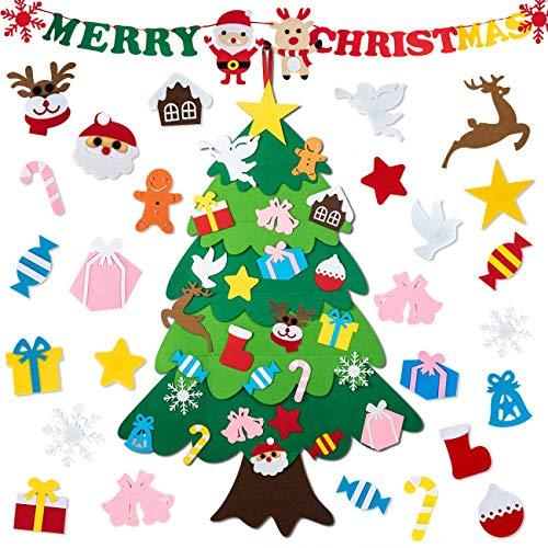 Gyvazla Feltro Albero Natale, Albero di Natale per Bambini e Striscione di Buon Natale, Ornamenti Staccabili, per Bambini, Decorazioni da Appendere alla Parete di Natale e Capodanno