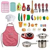 Locisne Juego de 42 juegos de cocina para niños, mini juegos de juguetes de comida coloridos, juego de cocina y horneado con ollas y sartenes de acero inoxidable, delantal y sombrero de chef