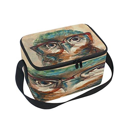 Use7Hipster Hibou en Verres Aquarelle Isotherme Sac à déjeuner Sac fourre-Tout Cooler Lunch Box pour Pique-Nique d'école Femme Homme Enfants