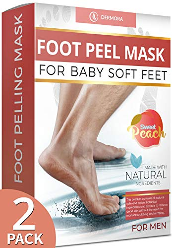 Peach Foot Peel Mask-Large 2 Pack- For Cracked Heels, Dead Skin & Calluses-Make Your Feet Baby Soft- Removes & Repairs Rough Heels, Dry Toe Skin-Exfoliating Peeling Natural Treatment.