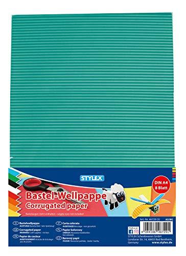 Stylex 46729 - Bastel-Wellpappe, DIN A4, 8 Bogen, sortiert in 8 Farben, doppelseitig gefärbt, zum Basteln, Schneiden und Kleben