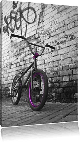 BMX Fahrrad vor Graffitiwand schwarz/weiß Format: 60x40 auf Leinwand, XXL riesige Bilder fertig gerahmt mit Keilrahmen, Kunstdruck auf Wandbild mit Rahmen, günstiger als Gemälde oder Ölbild, kein Poster oder Plakat