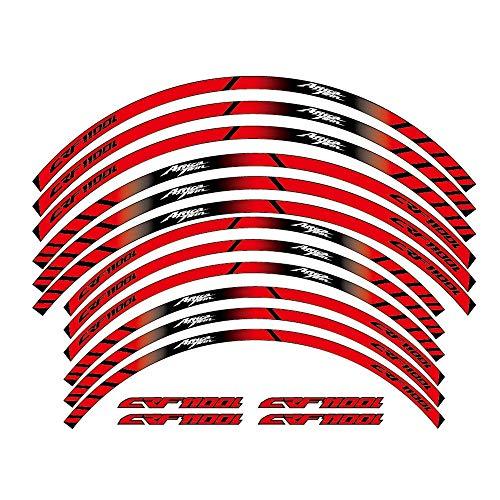 12 PCS Ruedas de Motocicleta Pegatinas Stripe Moto Protección Reflectante Rim Llaminadores de Llantas para Honda CRF1100L Twin CRF 1100L DIY (Color : 3)