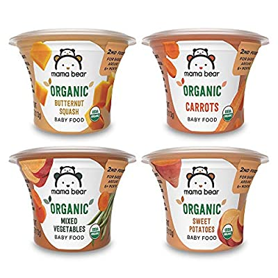 Amazon Brand - Mama Bear Organic Baby Food, Vegetable Variety Pack, 4 Ounce Tub, Pack of 12