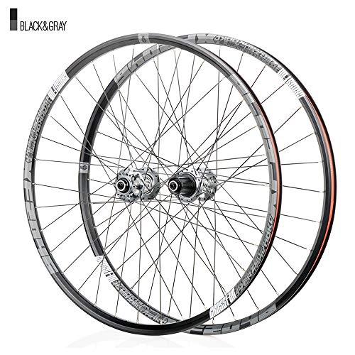 Juego ruedas Conjunto bicicleta montaña gris MTB doble pared Aleación aluminio Cubo rueda libre Freno disco llanta Liberación rápida Rodamientos Ciclismo delantera rueda trasera,8-12 velocidad,29'