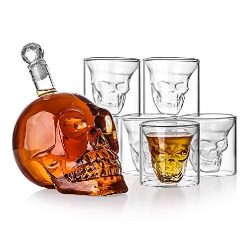 Juego de vasos de whisky, con 6 vasos de whisky de calavera de 75 ml, perfecto para bebidas de color Gin, Rum, escocés, licor, Bourbon, vodka, brandy de 550 ml, regalos para hombres