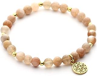 LEBENSBLUME Armband Damen aus echten Mondsteinen rosè-beige, 925er Silber oder Silber vergoldet, perfektes Geschenk zum Ge...
