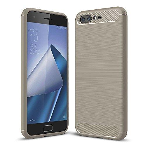 König Design Handy-Hülle kompatibel mit Asus Zenfone 4 Pro ZS551KL Silikon Hülle Hülle Sturzsichere Back-Cover Handyhülle - Carbon - Grau