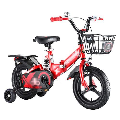 GAIQIN Durable 2021 Bicicleta para niños, Bicicleta de la Ciudad, Asiento Ajustable, con Canasta y Ruedas de Entrenamiento, en tamaño 12', 14', 16', 18' (Color : 16inch)
