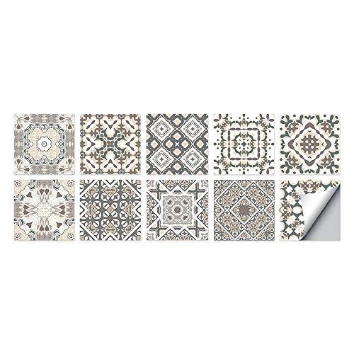 Estilo marroquí Azulejos Adhesivos Cocina e Baño Pegatinas de Baldosas Vinilos decorativo de Muebles Vinilos pared Baño Cocina Azulejos,10 Piezas -15x15cm