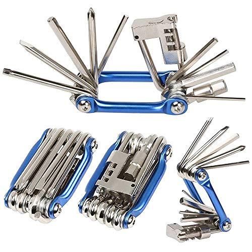 Tingz 11-en-1 Outil d'entretien de vélo Multifonction, Outil de réparation de vélo Multifonctionnel Pliable Portable kit de réparation de vélo avec Outil de réparation de chaîne (Bleu)