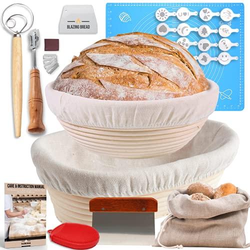 Trailblaze Vollständiges Set an Brotgärkörben – runde & ovale Gärkörbe für Sauerteigbrot Lahm Schaumschläger Teigschaber Brotsack | 100% natürliche Rattanstöcker ideales Brotbackgeschenk für Bäcker
