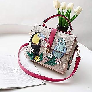 Adebie - Cute Women Messenger Bag Female Lady Birds Appliques Handbag Nature Lock Floral Flower Cartoon Canvas Shoulder Bag Crossbody Bag Red []