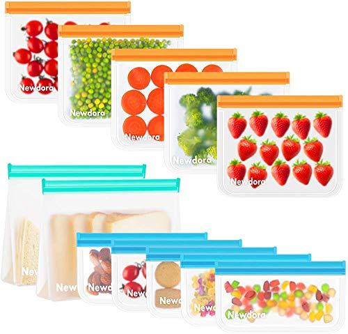Newdora Reusable Freezer Bags,12 Pack Ziplock Bags,BPA Free,Reusable...