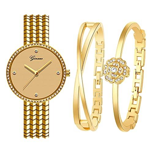 Souarts Geschenke für Frauen, Damenuhr Rosegold Silber Gold Farbe Armreif Geschenkset, Armbanduhr Schmuck Set, Damen Uhren Analog Quarz Edelstahl(Gold)