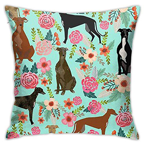 Traveler Shop Funda de Almohada Winddog Floral Cute Dog Throw Pillow Cover Fundas de cojín Decorativas para el hogar, 18x18in