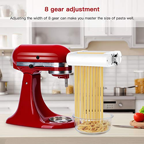 ANTREE Pasta Maker Attachment 3 in 1 Set for KitchenAid Stand Mixers Included Pasta Sheet Roller, Spaghetti Cutter, Fettuccine Cutter Maker Accessories and Clean   ing Brush