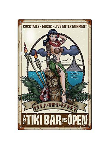 Tiki Bar OPEN COCKTAIL METAL TIN Placa AdDVERTISING WALL SIGN RETRO ART PUB BAR CLUB MAN CAVE – Placas de estaño póster de metal regalo 200 mm x 300 mm – Una obra de arte preciosa, te lo mereces.