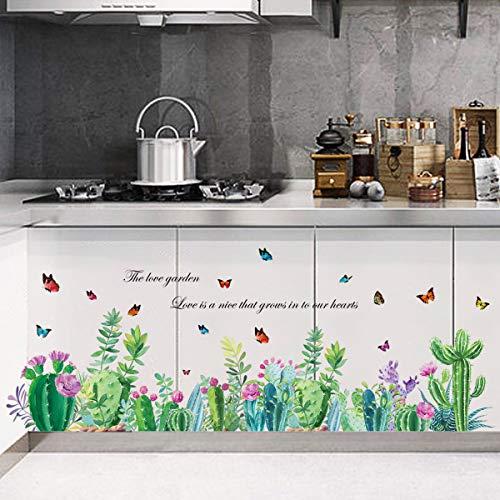 decalmile Wandtattoo Bordüre Kaktus Blumen Wandsticker Grüne Tropische Pflanze Schmetterling Wandaufkleber Wohnzimmer Schlafzimmer Wanddeko