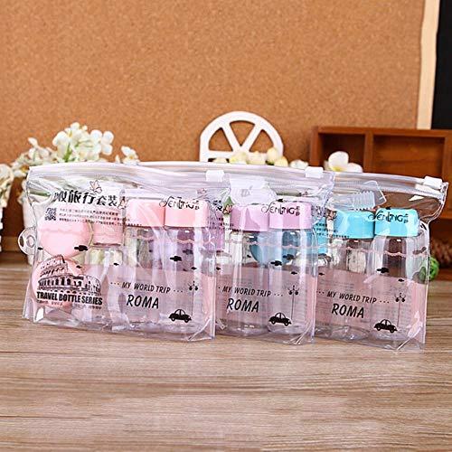 LGYLucky 7pcs / Set Pot de crème pour Le Visage cosmétique Maquillage Mini Voyage en Bouteilles en Plastique Transparent Contenant Une Bouteille Vide de Fard à paupières,Rose