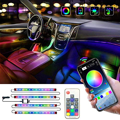 OONOL Dreamcolor Interior Car Lights 4PCS Car Neon Strip with 2-in-1 (APP & IR Remote) Bright Music Sync Lights with DIY Color and Super Length Wires for Universal Car, DC 12V (48 LED Rainbow Color)