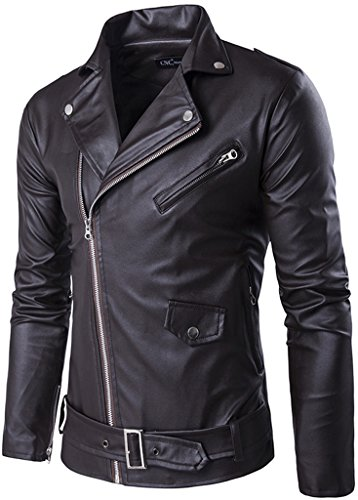 Whatlees Mens Fashion Long Sleeve Convertible Collar Placket Zip Up Slim Fit Biker Faux-Leather Jacket Coat With Belt and Pockets B353-Brown-S