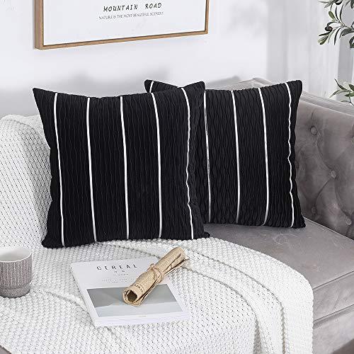 Yeadous - Set di 2 federe decorative per cuscino, motivo a onde jacquard, con strisce argentate, pratiche, quadrate in velluto, per divano letto, 45 x 45 cm, 45 x 45 cm, set da 2
