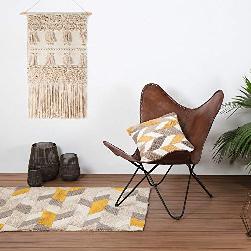 Vintage Brown Leather & Arm Butterfly Chair | Genuine Tan Leather Butterful Chair Home Decor | Handmade Chair Presented by Indian Hando Art