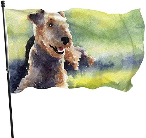AOOEDM flag Garden flagOil Painting Airedale Terrier Dog Art Themed Welcome Party Outdoor Outside Decorations Ornament Picks Home House Garden Yard Decor 3 X 5 Ft Small Flag