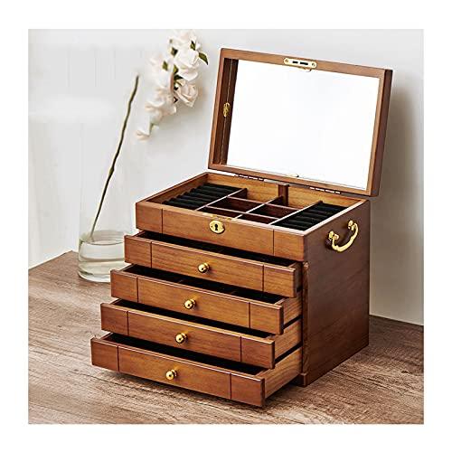 hkwshop Caja de Joyas 3/4/5 LayerLarge Joyeria de Madera/gabinete/Armario con Caja de Bloqueo y Espejo Caja de joyería para Mujeres Niñas Anillo Collar Caja de Joyería (Size : Large)