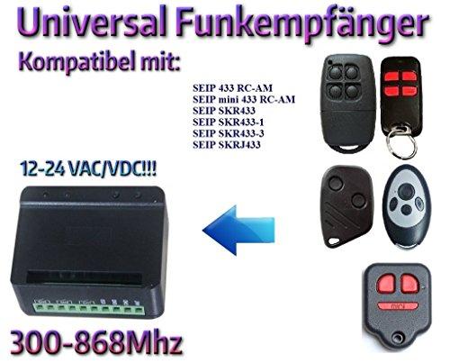 Universal Funkempfänger kompatibel mit SEIP 433 RC-AM / mini 433 RC-AM / SKR433 / SKR433-1 / SKR433-3 / SKRJ433 handsender. 2-befehl Rolling Fixed code 300Mhz-868Mhz 12 - 24 VAC/DC Funkempfänger.