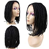 HAIR WAY Lace Front Braided Wigs Bob Style for Black Women Glueless Senegalese 2x Twist Braided Lace Bob Wigs with Baby Hair for Daily Wear Half Hand Tied 16inches #1B