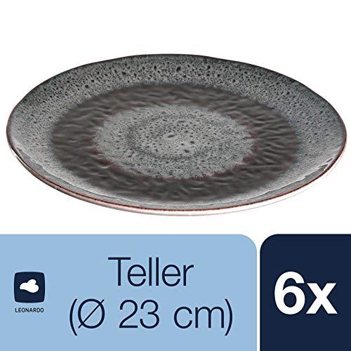 Leonardo Teller Matera 6-er Set, 22,5 cm, 6 Keramik Teller, spülmaschinengeeignet, mit Glasur, anthrazit, 018555