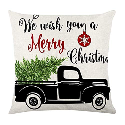 AMhomely Christmas Decorations Sale, Fashion Home Decor Cotton Linen Throw Pillow Case Sofa Waist Cushion Cover Merry Christmas Decorative Xmas Decor Ornaments Party Decor Gift