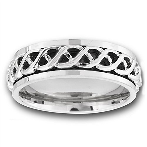 Spinner Celtic Infinity Wave Knot Wedding Ring Stainless Steel Band Size 12