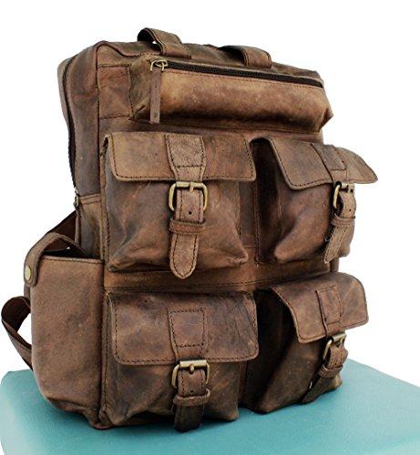 AOL Vintage Genuine Buffalo Leather 18' Backpack Rucksack Travel Bag College Bag SALE